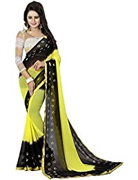 Muskaan Sarees Women's Chiffon Saree With Blouse Piece (Latest Saree Fai 69_Yellow)