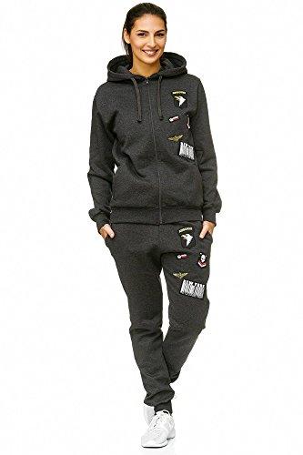 Violento Damen Jogging-Anzug USA-Patches 685 (L-fällt groß aus, Anthrazit)