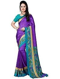 Novus Knitting Purple Zora Printed Art Silk Uniform Saree With Blouse (5691 G)