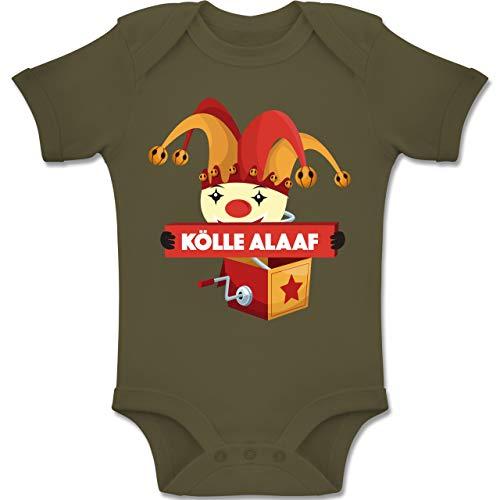 Shirtracer Karneval und Fasching Baby - Kölle Alaaf Jack in The Box - 3-6 Monate - Olivgrün - BZ10 - Baby Body Kurzarm Jungen ()