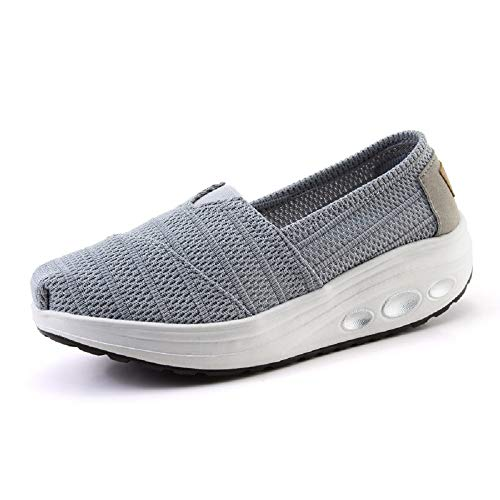 Fuxitoggo Zapatillas de Malla de Malla para Mujer Zapatillas de Deporte Transpirables con Suela basculante Casual (Color : Gris, tamaño : EU 39)