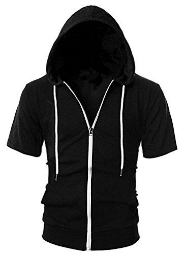 Brinny Herren Kapuzenpullover Hoodie mit Tasche - Pullover Kapuze Sweatjacke Sweatshirt Langarm WY05-Schwarz