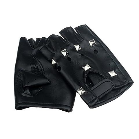 Saingace gloves Theater Punk Hip-Hop-PU Schwarz Half-Finger Lederhandschuhe Platz Nagel