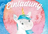 Lustige Einladungskarten für Kindergeburtstage für Jungen oder Mädchen (Einhorn auf farbigem Hintergrund, 12 Stück im Kartenset)