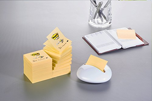 Pack Ahorro Z-Notas Post-it® con 16 blocs Color Canary YellowTM (encelofanados individualmente y código ean) y GRATIS 1 Dispensador Blanco Karim con 1 bloc de Z-Notas Super Sticky color amarillo