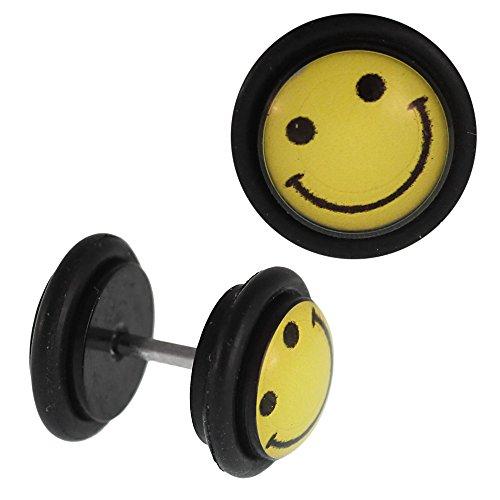 Fake Piercing Plug Negro Cara Smiley lachend Amarillo Anillo de goma 7mm