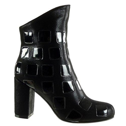 Angkorly - Chaussures De La Mode Bottines - Bottes Féminines Brillantes Bi-matière Block Heel Talon Haut De 9 Cm