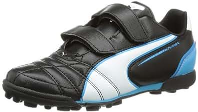 Puma  Universal TT V Jr, Chaussures de foot pour fille Noir Schwarz (black-white-fluo blue 06) 31