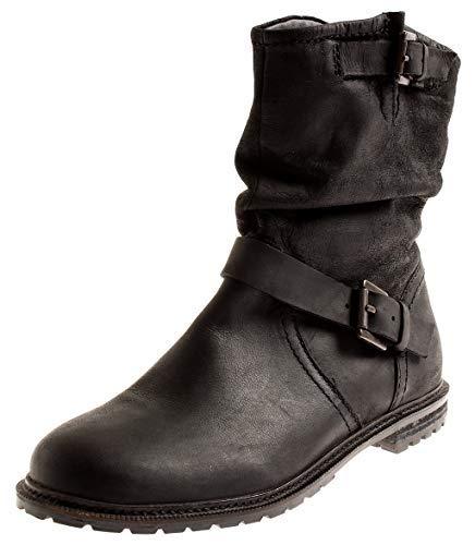 SPM Damen 7171 Lederstiefelette Stiefelette Lederschuhe Leder Boots Schlupfstiefel Schwarz EU 40