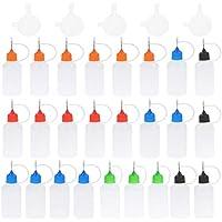 HEALLILY botellas de punta de aplicador de aguja de plástico con 5 botellas de pegamento de plástico embudo botellas cuentagotas exprimibles 25 piezas 30 ml