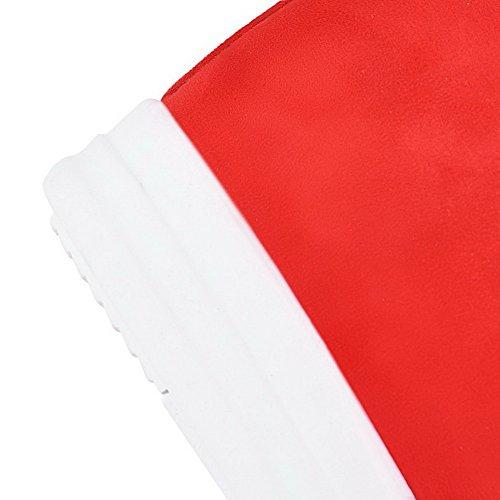VogueZone009 Donna Alla Caviglia Colore Assortito Tirare Punta Tonda Tacco Alto Stivali Rosso