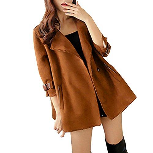 VEMOW Mode Elegant Damen Herbst Winter Windjacke Mantel Tops Oberbekleidung Casual Daily Outdoors Lose Solide Mantel(Braun, EU-46/CN-XL)