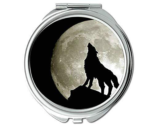 Yanteng Spiegel, Kleiner Spiegel, Taschenspiegel mit Tierwolf, 1 X 2X Vergrößerung