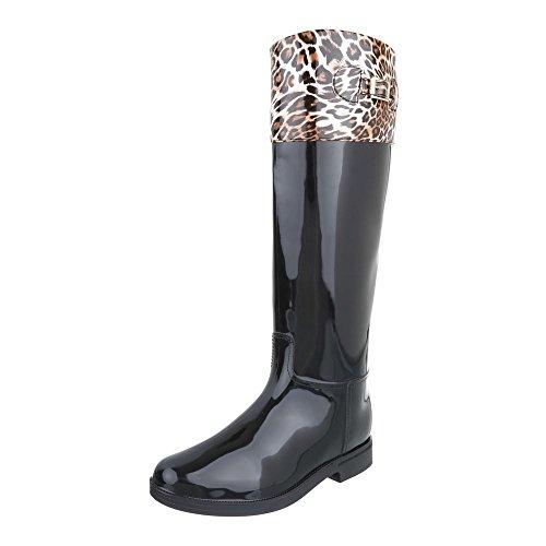 Stivali Di Gomma Scarpe Da Donna In Gomma Stivali Di Gomma Blocco Tallone Tacco Ital-design Stivali Nero Marrone