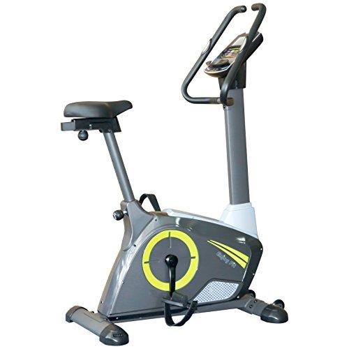 EnjoyFit® Ergometer Heimtrainer Fahrradtrainer mit Handpuls-Sensoren, 5,5 Zoll Display, Computer mit Verschiedenen Trainingsprogramme, 12 Kg Schwungmasse