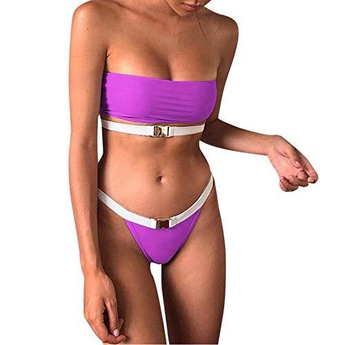 Wymw Frauen Leopard Gedruckt Eine Schulter Bikinis Reversible Bikini Set Bademode Frauen Sommer Strand Tragen Weiblichen Badeanzug-L_Purple - Reversible Bikini Brief
