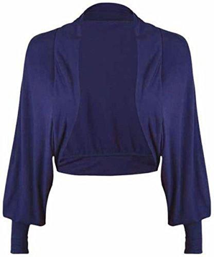 Janisramone Femmes dames Nouveau Batwing Longue Manches Plaine Boléro Shrug Ouvrir De face Jersey cropped cardigan Haut Navy