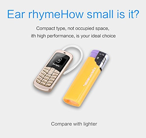 Ear ryhme M9 Ultrakleines 3-in-1-Handy, simlockfrei, Bluetooth-Freisprechfunktion und Bluetooth-Kopfhörerfunktion, FM-Radio, Micro-SIM-Karte, 2G GSM, 23g, Kunststoff (Gold)