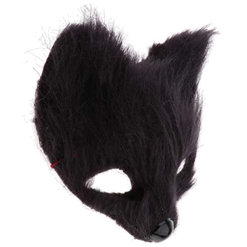Baoblaze Tierform Plüsch Cosplay Maske Katzenmaske Cosplay Kostüm Requisiten für Maskerade-Partys, Karneval, Kostümpartys - Schwarz - Schwarze Maskerade Katze Maske