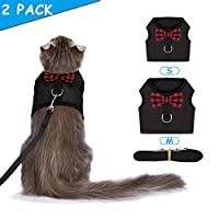 Bojafa Cat Harness and Leash Set (2 Pack) for Walking Escape Proof - Adjustable Vest Harness for Cats and Small Dogs Outdoor Walking