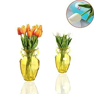 CAILI Flores Artificiales,Tulipán Flor Falsa,Flores Artificiales Decorativas para Ramos de Boda, Hogar, Hotel, Jardín…