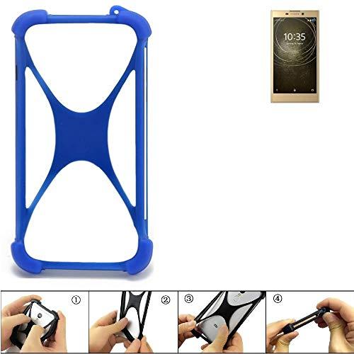 K-S-Trade Bumper für Sony Xperia L2 Dual-SIM Silikon Schutz Hülle Handyhülle Silikoncase Softcase Cover Case Stoßschutz, blau (1x)
