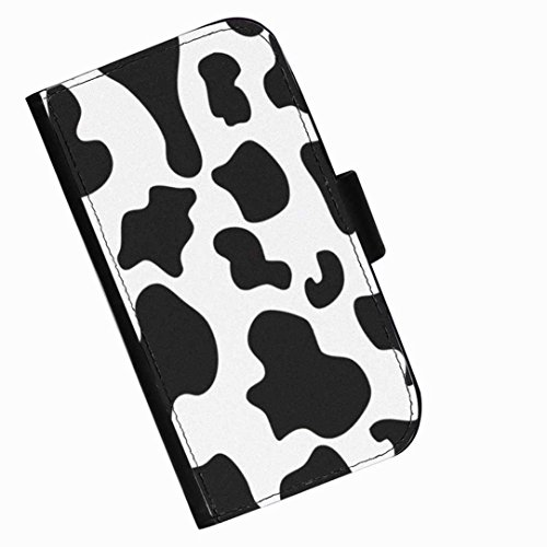 Hairyworm - Black and white cow print LG G3 (D855, D850, D851) leather side flip wallet phone case, cover with card slots, money slot and magnetic clasp to close. LG3 photo phone case (Wallet G3 Für Lg Case Phone)