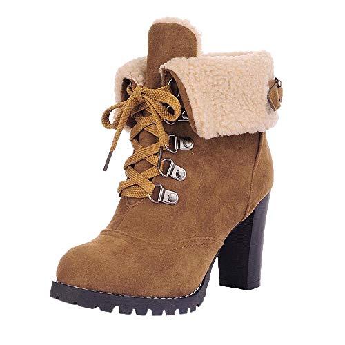 Damen Stiefeletten SHOBDW Frauen Schnür High Thick Kurze Stiefel Schuhe Freizeit Schuhe High-Heel Stiefel Winter Warme Mode Solid Futter weich Künstliche Plüsch Spitz Stiefel