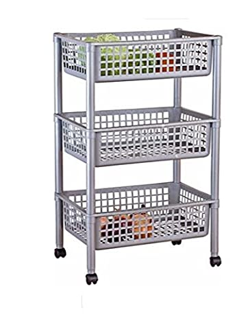 Silver Effect 3 Tier Vegetable Trolley - Multi-use by Empire Sterling