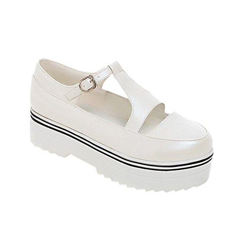 MissSaSa Damen süß plateau Schuhe mit T-spange bequem Mary Jane Halbschuhe Weiß