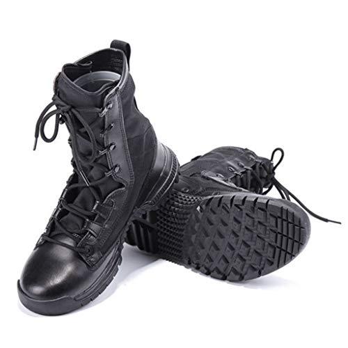 eicht Kampfstiefel für Herren Taktische rutschfeste Sommer im Freien atmungsaktive Stiefeletten für Delta Wandern Trainingsschuhe,Black,43 ()