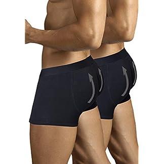 ARIUS Pack 2 Calzoncillos Boxer con Relleno Trasero para Aumentar el Volumen y tamaño de glúteos y Levantar. Los 2 Iguales en Color Negro – Push up y Relleno de Nalgas