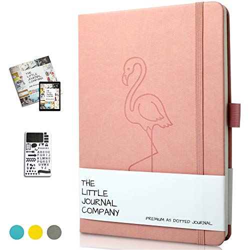 2019 Bullet Journal/Notebook Planner - A5 Thick Ivory Paper - Soft PU Leather Cover, Numbered Dotted Pages, Free Stencil and Bullet Journal Starter Ebook Included - UK Brand - (Pink Flamingo)