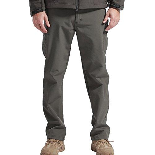 Flat-front-hose Gefüttert (FREE SOLDIER Outdoor vollständig Herren Softshell Fleece gefüttert Walking Hose wasserdicht winddicht Warm Winter Hose(Grau XL))