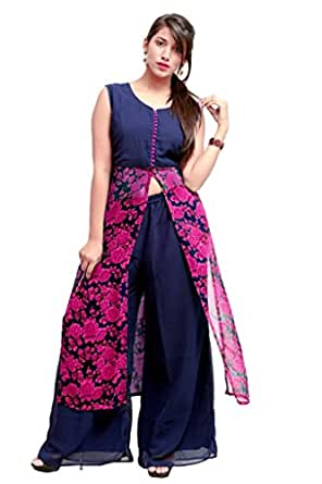 Charu Boutique 2 Piece Cape Top Style Chiffon Kurta and Palazzo Set
