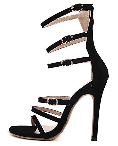 Aisun Femme Mode Boucle Découpe Sandales Noir