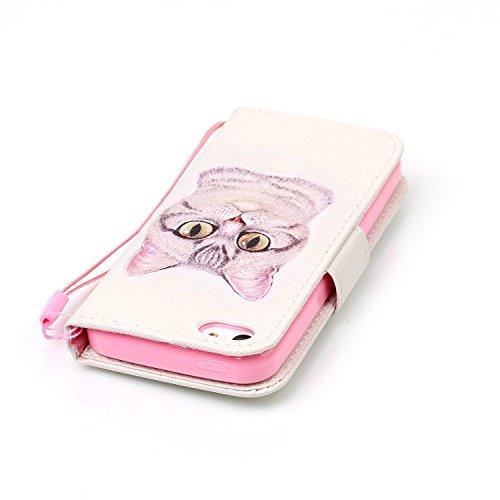 Custodia Cover iPhone 5C,Ukayfe Flip Cover Wallet Case Custodia per iPhone 5C in pelle PU,iPhone 5C Lussuosa Astuccio Custodia Cover [PU Leather] [Shock-Absorption] Protettiva Portafoglio Cover Custod Gatto