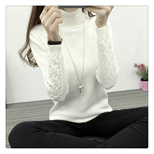 Knitting Sweater and Pullover for Women 2018 Fall Winter Turtleneck Tricots Tops Mujer Knitwear Female Jumper Knitted Coat Femme White L