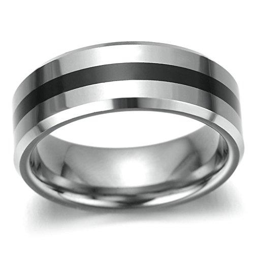 Gnzoe 7MM Uomo Acciaio inossidabile Anello Uomo Matrimonio Anello Con Smussato Bordi,Argento Nero, Dimensioni 20