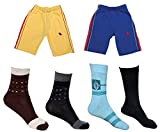 Indistar Boys Combo Pack (Pack of 2 Boys Cotton Bermuda/Shorts and 4 Cotton Shocks)-Multi Color-11-12 Years