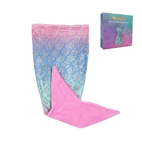 Viviland coperta per sirena per bambini, sacco a pelo sirena di flanella arcobaleno shinny super morbido, regali di compleanno, regali di natale per ragazze, 43x100cm