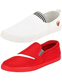 Ethics Perfect Combo Pack of 2 Red & White Stylish Casual Loafers Shoes for Men (8)