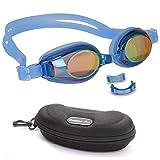 BEZZEE PRO Occhialini da nuoto per bambini - Occhiali da nuoto per ragazzi, junior, ragazze e ragazzi - impermeabile, protezione UV, include una custodia