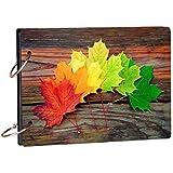 100yellow® Leaf Wooden Photo Album Scrapbook for Memories & Gifting (21.7 cm X 15.7 cm, Multi)