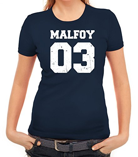 Fanartikel Fan Kult Film Trikot Damen T-Shirt Malfoy 03, Größe: XXL,Dunkelblau