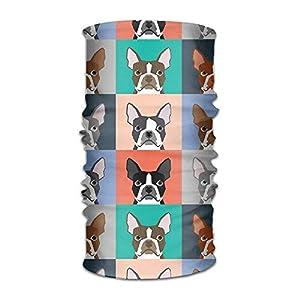Kopfbedeckungen Unisex Stylish Boston Terrier Dog Pugs Cute Quick Dry Microfiber Headwear Outdoor Magic Bandana Neck Gaiter Head Wrap Headband Scarf Face Mask Ultra Soft Elastic Handscarf