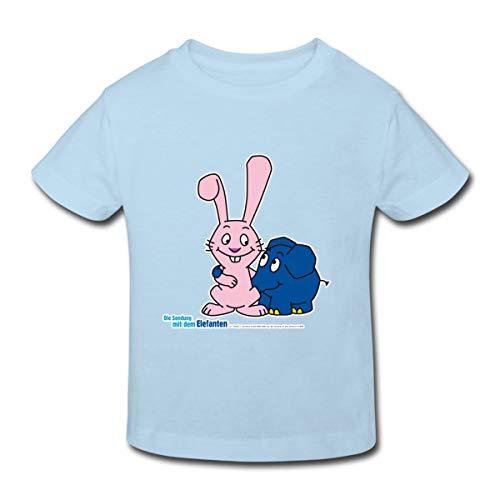 Spreadshirt Sendung Mit Dem Elefanten Kleiner Elefant Und Hase Kinder Bio-T-Shirt, 98/104 (3-4 Jahre), Hellblau -