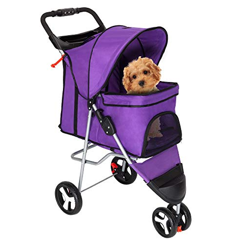 Haustier Rollstuhl Pet Kinderwagen, Neue Qualitativ Hochwertige Pet Kinderwagen, Cat Dog 3 Rad Walk Jogger Reise Faltende Träger Lila