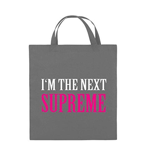Comedy Bags - I'm the next supreme - Jutebeutel - kurze Henkel - 38x42cm - Farbe: Schwarz / Weiss-Neongrün Dunkelgrau / Weiss-Pink