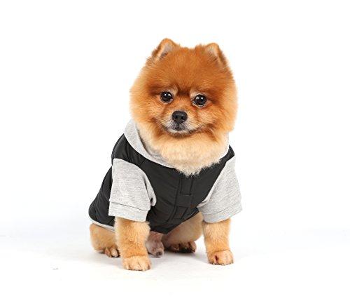 Doggy Dolly W109 Hundejacke Wasserabweisend mit Kapuze, schwarz/grau, Wintermantel/Winterjacke, Größe : XXS - 5